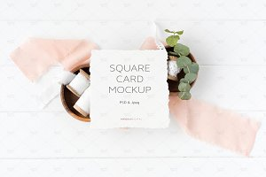 Square Card Mockup Psd + Jpeg