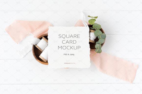 Square Card Mockup Psd Jpeg