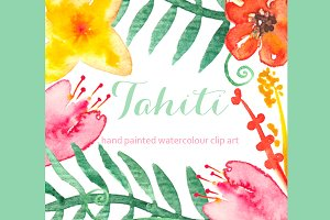 Tahiti set Watercolor Clip Art