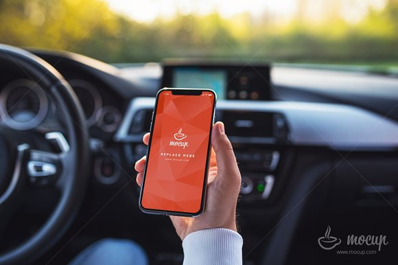 PSD Mockup IPhone X Car C