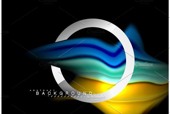 Rainbow Fluid Colors Wave And Metallic Geometric Shape