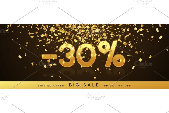 Discount Voucher Template Design With Gold Confetti Tinsel