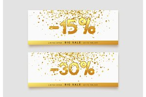 Discount voucher template design with gold confetti tinsel.