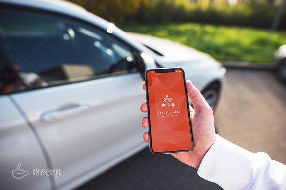 PSD Mockup IPhone X Car C