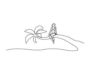Beautiful woman sitting on palm near sea