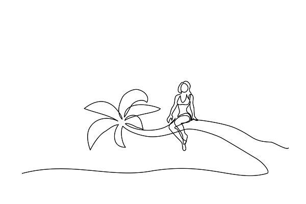 Beautiful woman sitting on palm nea…