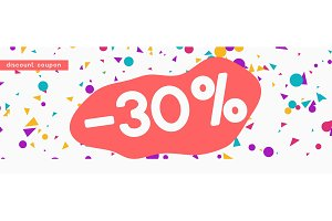 Discount voucher template design with colorful confetti tinsel.