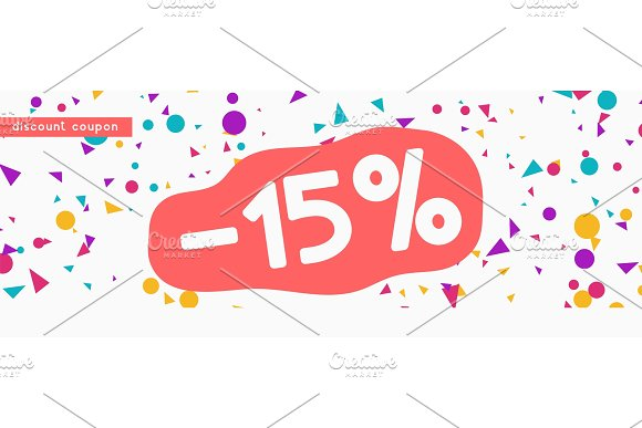 Discount Voucher Template Design With Colorful Confetti Tinsel