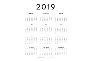 Simple english calendar for 2019 years, Week starts from Sunday