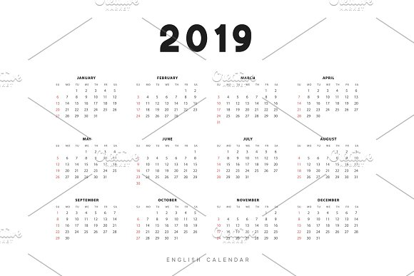 Simple English Calendar For 2019 Years Week Starts From Sunday