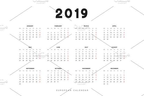 Simple European Calendar For 2019 Years Week Starts On Monday