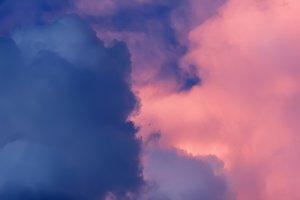Pink grey storm sky
