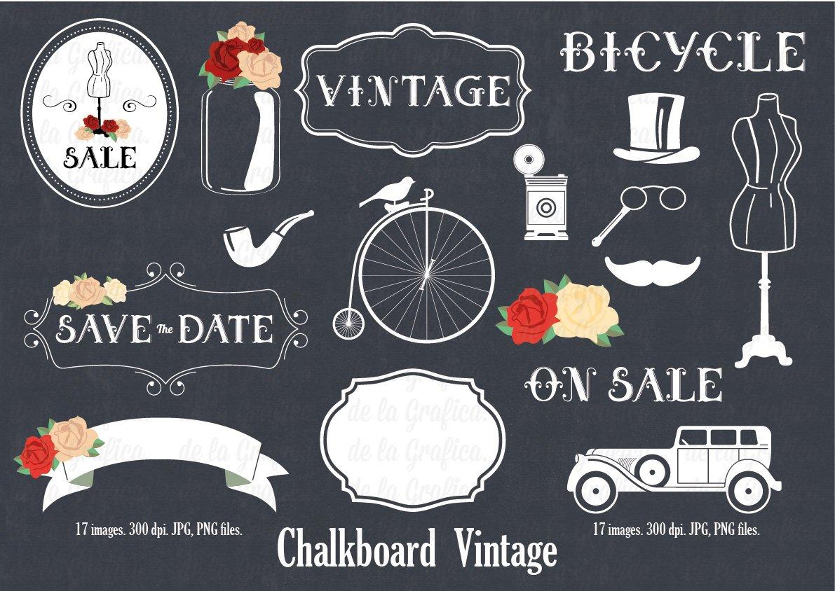 chalkboard vintage illustrations creative market