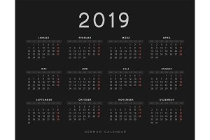 Simple germany calendar for 2019 years, week starts on Monday