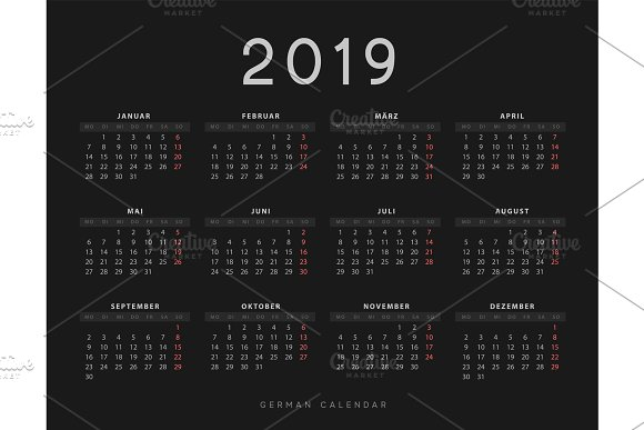 Simple Germany Calendar For 2019 Years Week Starts On Monday