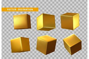 Design element set in shape of 3d cubes gold color.