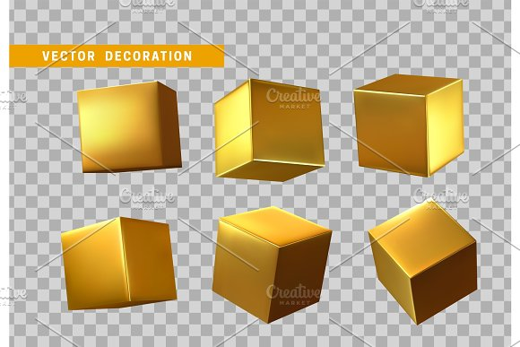 Design Element Set In Shape Of 3D Cubes Gold Color