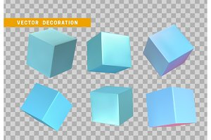 Design element set in shape of 3d cubes blue color.