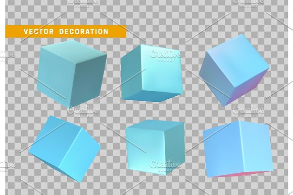 Design Element Set In Shape Of 3D Cubes Blue Color