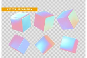Design element set in shape of 3d cubes bright neon color.