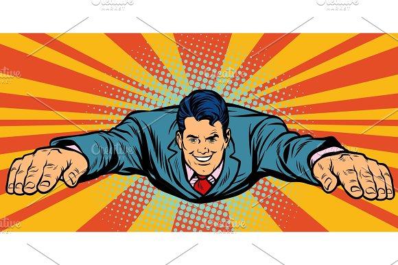 Joyful Businessman Flying Superhero