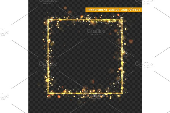 Gold Frame With Glowing Lights And Sparkle Bokeh Effects Isolated On Transparent Background
