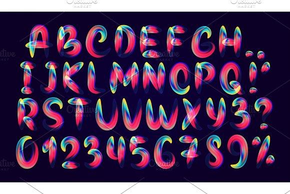 Fluid Colored Letter Alphabet Font Of Melting Liquid