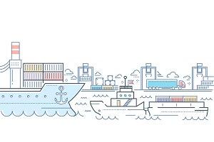 Port - modern line design style colorful illustration