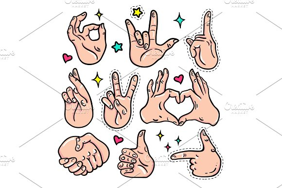 Hand Gestures Vector Isolated Stickers Set