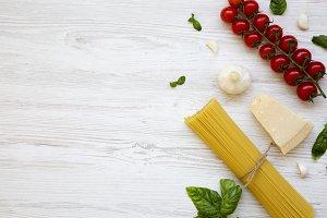 Spaghetti, tomatoes, basil, parmesan