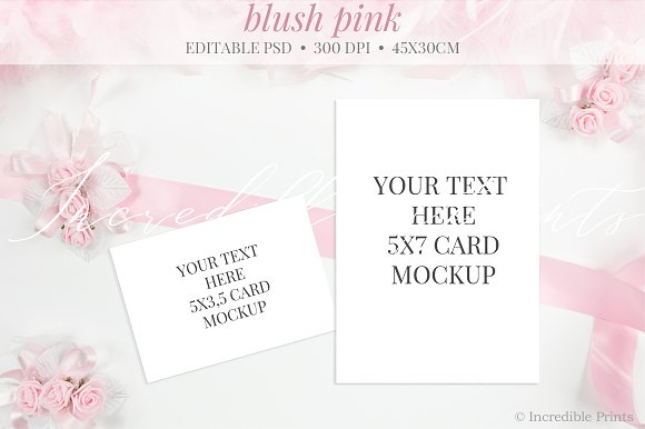 Blush Pink Floral Wedding Mockup
