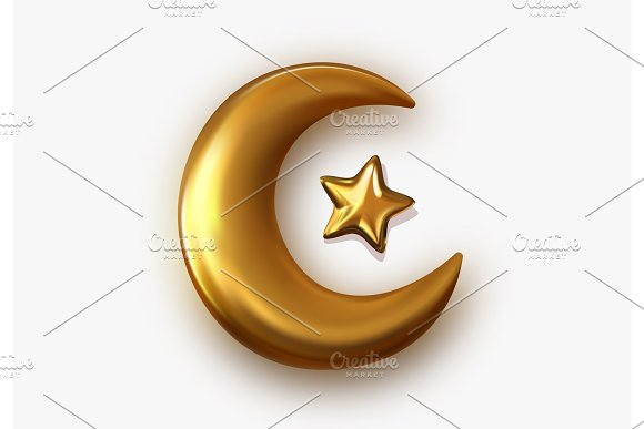 Golden Crescent 3D Object With Transparent Background Effect