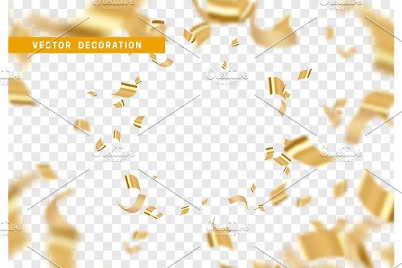 Falling Shiny Golden Confetti Isolated On Transparent Background