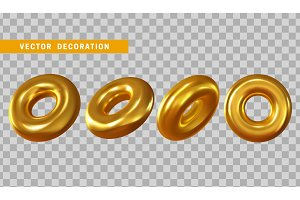 Design element in shape of 3d torus gold color.