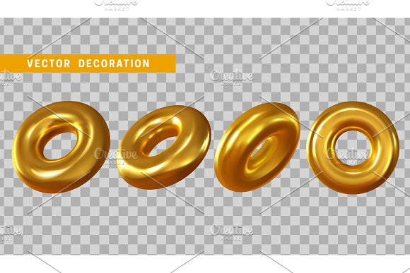 Design Element In Shape Of 3D Torus Gold Color