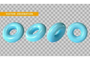 Design element in shape of 3d torus blue color.