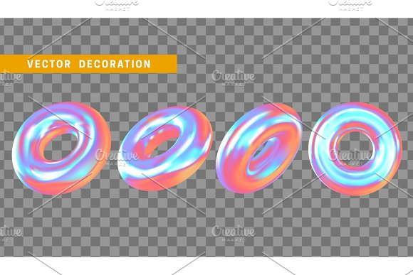 Design Element In Shape Of 3D Torus Bright Neon Color