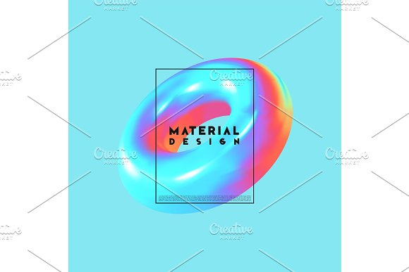 Modern Abstract Background Gradient Colorful Composition 3D Shapes Ring