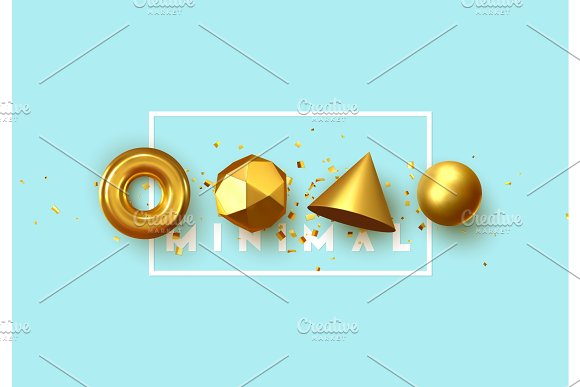 Abstract Geometric Background 3D Shapes Golden Color Spheres Torus Cones