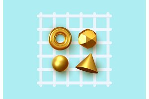 Abstract geometric background. 3D Shapes, golden color spheres, torus, cones.