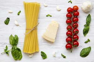 Pasta background. Ingredients for