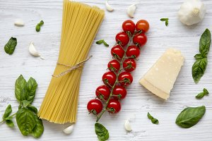 Ingredients for cooking pasta on