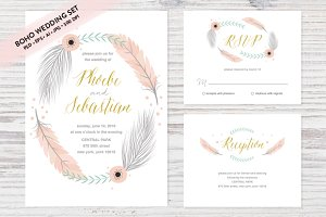Boho Wedding Set EPS & JPG