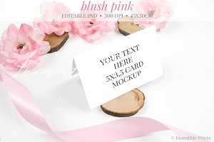 Rustic Pink Place Card Mockup