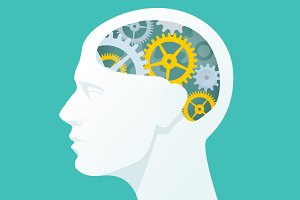 Human head with gears. Head thinking