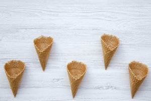 Top view, waffle sweet cones