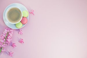 Flat lay photo of coffee cup with