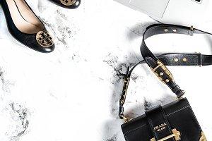 Fashion flat lay bag shoes JPG