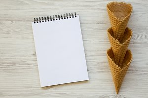 Waffle sweet cones with blank