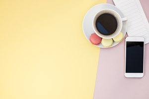 Flat lay of coffee cup with